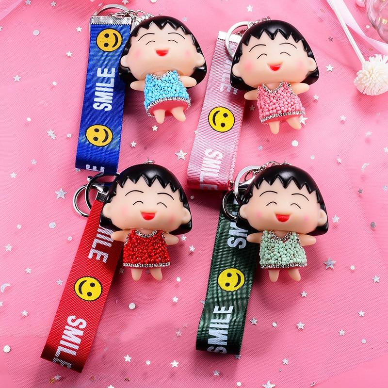 Cartoon Anime Figure Maruko Set Auger Keychain Cute Vinyl