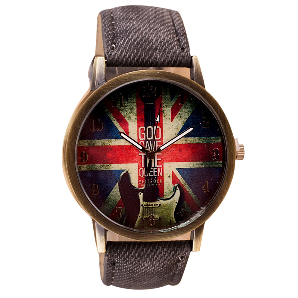 British rice flag high quality retro fashion womens watch casual leather simulation quartz watch dress clock dames horloges #A