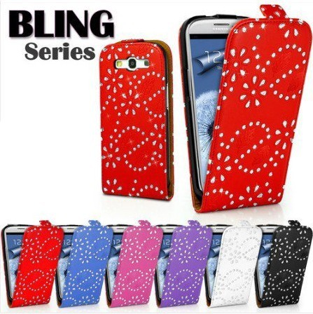 Galaxy siii cases.Diamond bling flip leather case cover for Samsung I9300 Galaxy S3 III free shipping 6pcs/lot
