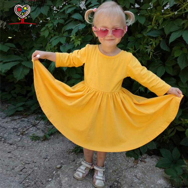 KAMIMI 2017 new girls spring dress party tutu dress children clothing princess dress kids toddler girl clothing solid color