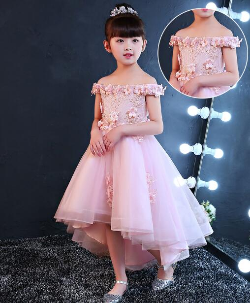 2017 New Shoulderless Flower Girls Dresses For Wedding Appliques Formal Girl Birthday Party Dress Red Lace Princess Ball Gown summer 2017 new girl dress baby princess dresses flower girls dresses for party and wedding kids children clothing 4 6 8 10 year