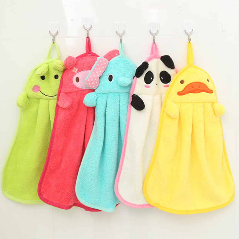 Sweet Candy Colored Cartoon Baby Towel Soft Coral Fleece Kid Child Towels Wipe Sweat Hung Towel 28*44 27.5*37.5cm BMJ07