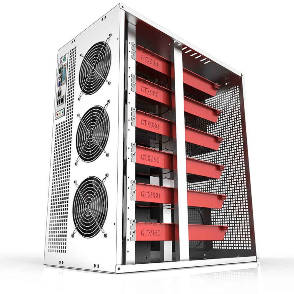 6/8 GPU Vertical Type Graphics Server Chassis Micro 4U Mining Machine Chassis With Dual Power Supply Design