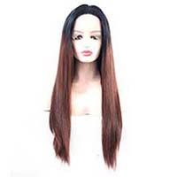 Brown Ombre Lace Front Wig 1B 33 Straight Glueless Synthetic Wigs for Women Half Hand Tied Hair Replacement Full Wig