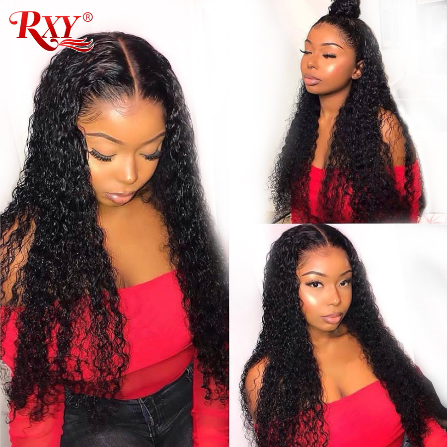 RXY Deep Wave Lace Front Wig Glueless Lace Front Human Hair Wigs Pre Plucked With Baby