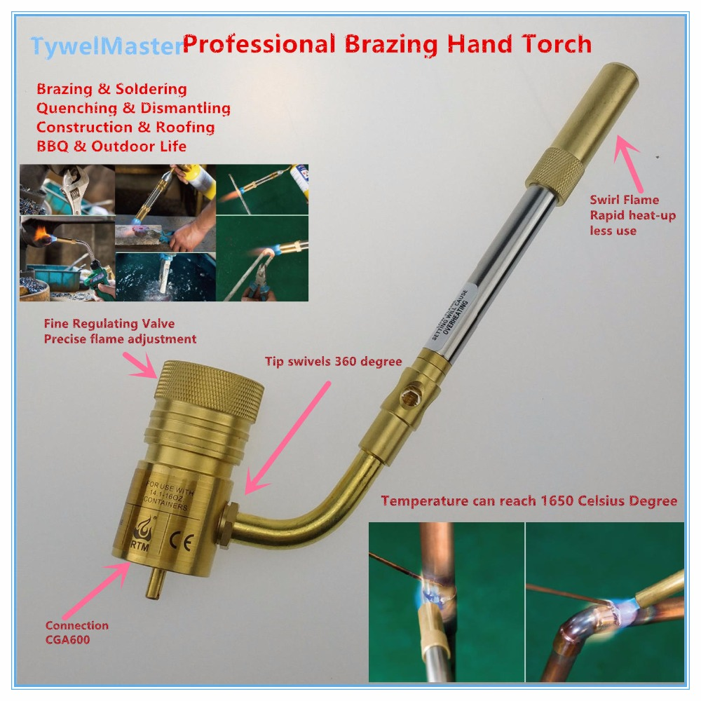 цены Propane Torch Brazing Torch MAPP Propane Welding Burner Professional Swivel Cyclone Burner Flame Gun CGA600 Welding Torch