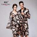 2017 Мужчин И Женщин Домашней Одежды Летом Китайский Дракон Pattern Ночная Рубашка Народном Стиле Большой Размер Шелк Пижамы Устанавливает Черные Шелковистые Халаты