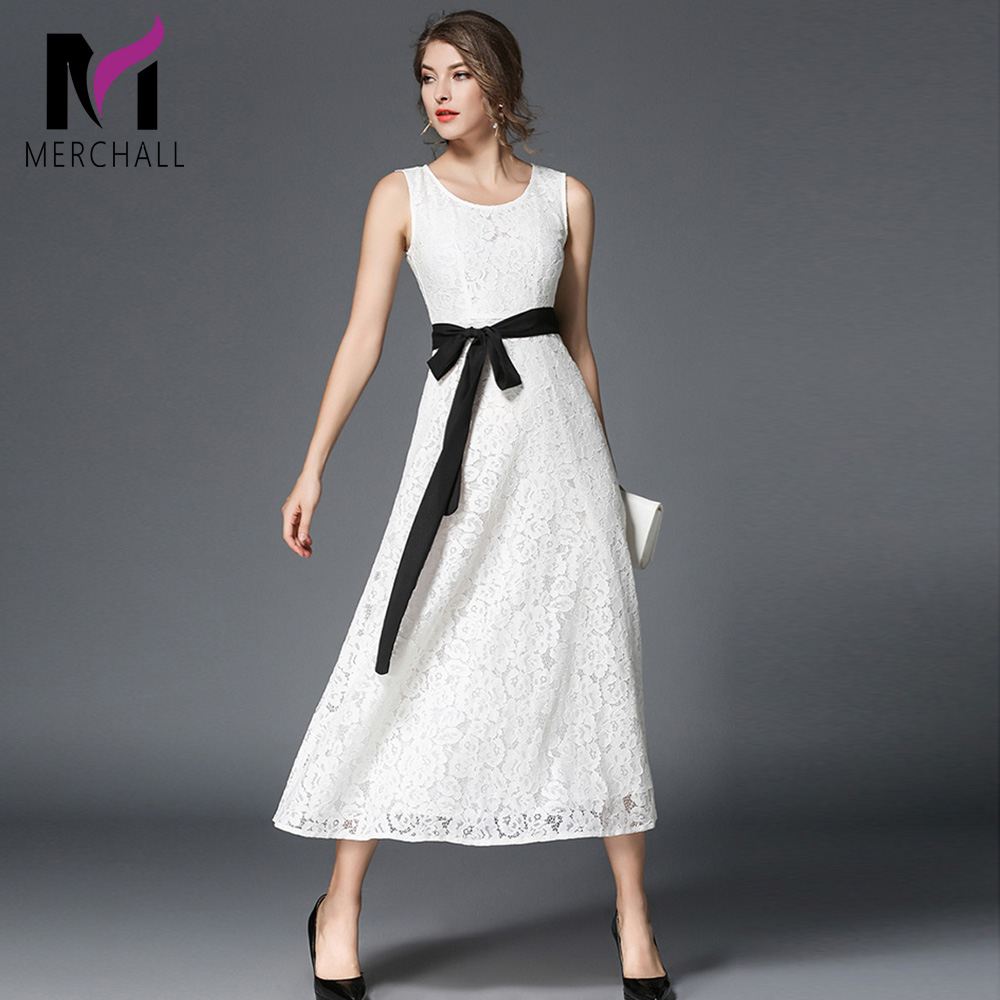 Merchall Designer Runway Sexy Halter Dress summer Women Sleeveless Elegant Lace Belt Casual Party Noble