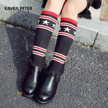 2017 новые осенние дизайнерские детские ковбойские сапоги трикотажной ткани верхней середины икры сапоги детские ортопедические спортивная обувь для девочек сапоги