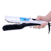 CkeyiN Professional Steam Straightener Comb Brush Straight Hair Ceramic Hair Iron Electric Hair Straightening Brush Steam