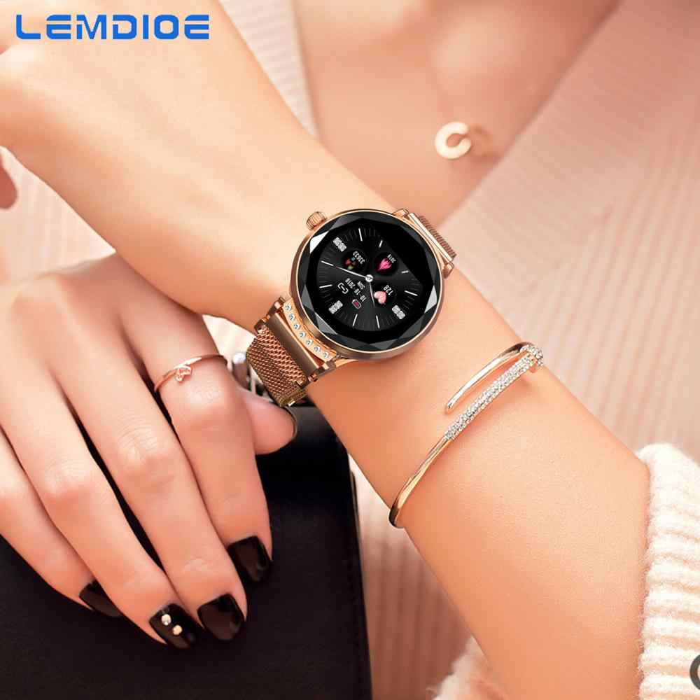 LEMDIOE Female Smart Watch Women Waterproof IP67 Heart Rate Blood Pressure Monitor Multi-sport Mode Smartwatch For Android IOS