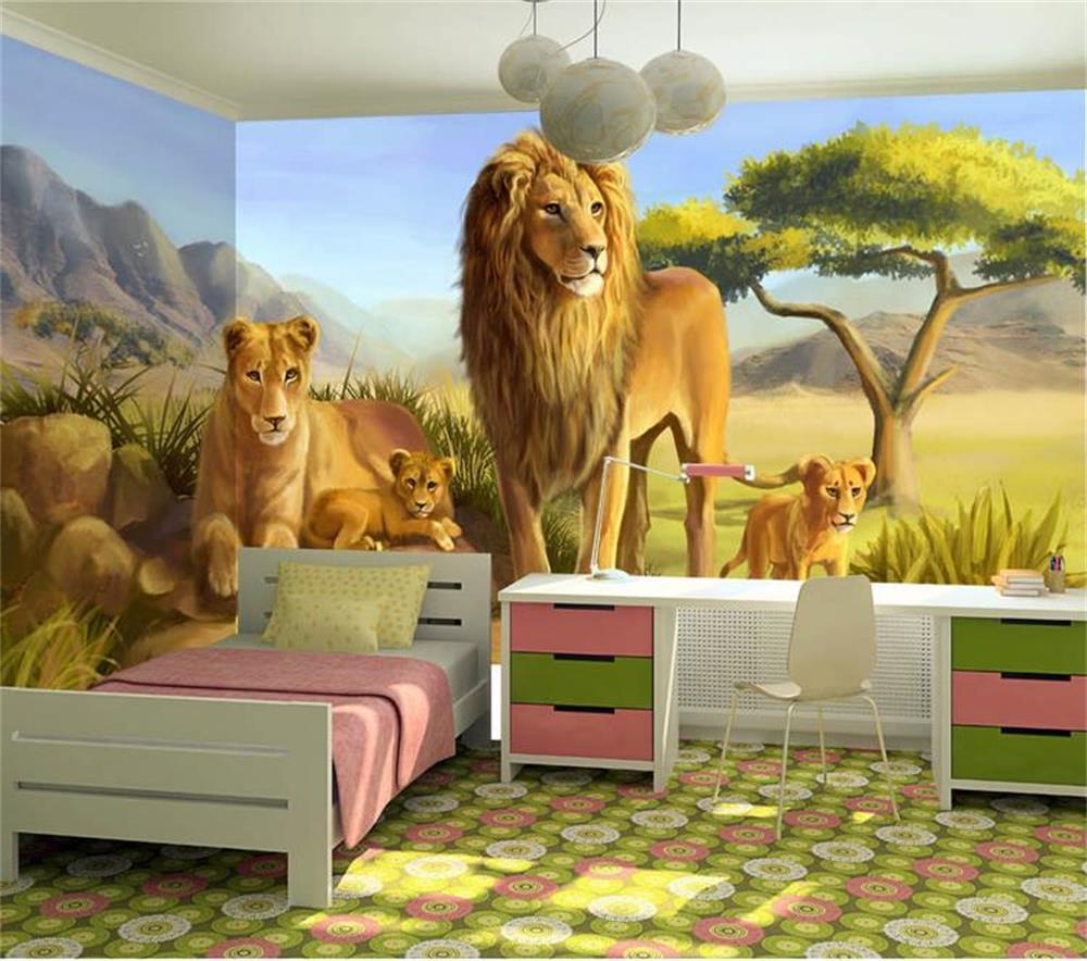 カスタム 3d 写真の壁紙子供の部屋の壁画漫画草原ライオンキング 3d