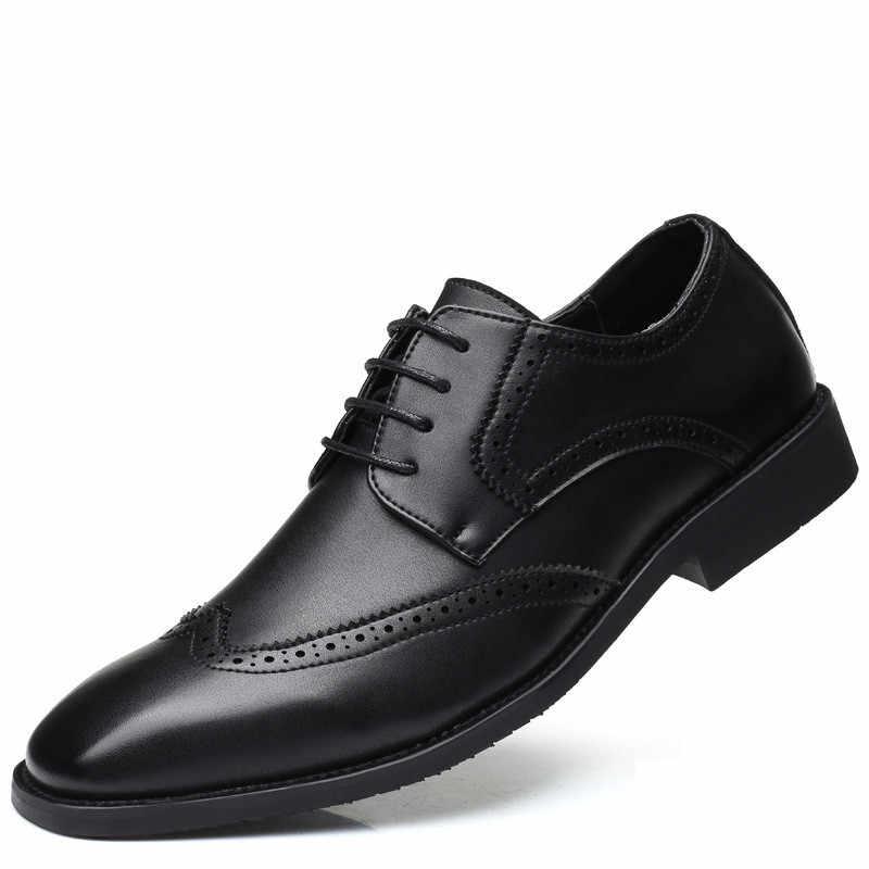 LAISUMK marka mężczyźni skórzane buty Brogue męskie oksfordzie obuwie na co dzień Bullock ślubne formalne biznes mężczyzna mieszkania nowy większy rozmiar 48