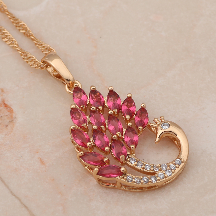 Peacock design 2015 new women accessories Rose Zirconia yellow ...