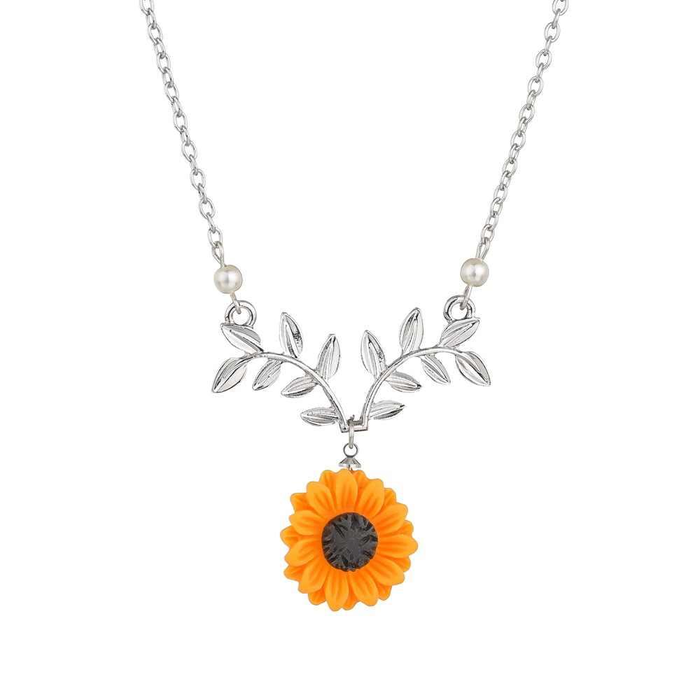 2019 Hot moda żółty słonecznik wisiorek naszyjnik dla kobiet sztuczna naszyjnik z pereł biżuteria ubrania akcesoria Drop shipping
