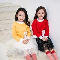 Kids Girls Cute Cat Embroidery Woolen Sweater Autumn Winter Children Clothing Little Girls Knit Warm Pullovers Toddler Girls Top