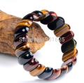 Wonderful Multicolor Top Quality tiger's eye Gem Stretch Slice Bracelet Woman Man's Bangle fashion Jewelry