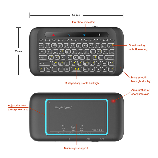 H20 Mini Wireless Keyboard Back light Touch pad Air mouse IR Leaning Remote control For Andorid BOX Smart TV Windows PK H18 Plus 5