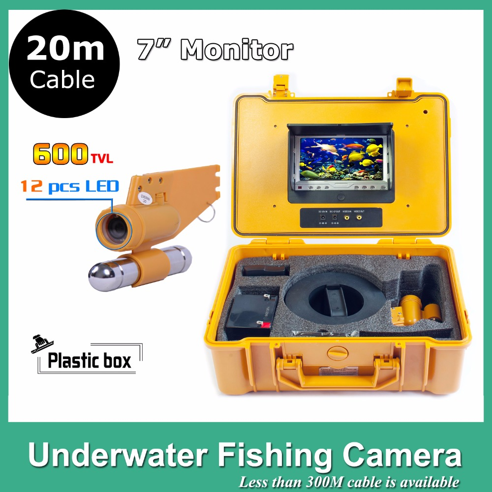 7 inch LCD CCTV Underwater Video Camera System Fish Finder CCD 650TVL12Pcs White Lights Night Vision Fishing Camera 20M Cable 20m cable underwater fishing camera fish finder with 1 3 sony ccd effio e 12pcs white leds camera night vision rotate 360 degree