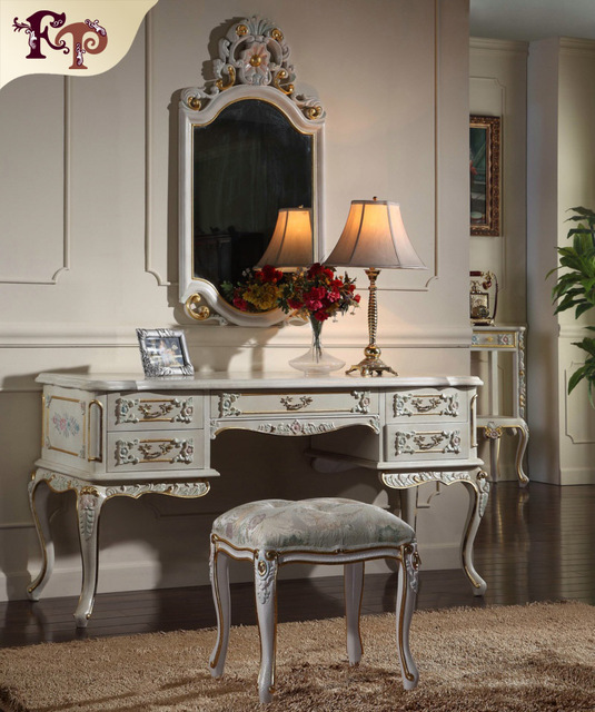 2016 (Full Set) Russia Hot Elegant Home Furniture Dresser With Mirror And Dressing Table And Woman Bedroom Chair