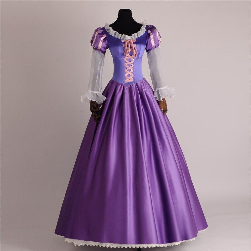 Offre spéciale robe de soirée princesse Costume Cosplay femmes et fille Costume cheveux longs raiponce Costume de princesse robes violettes