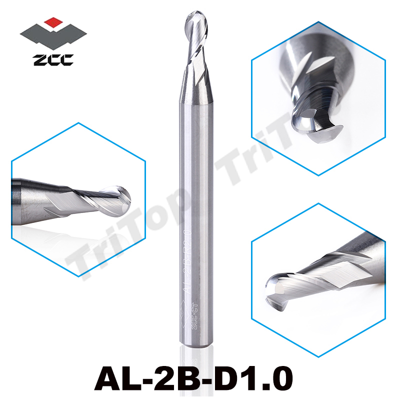 2pcs/lot ZCC.CT cutting tools AL-2B-R1.0 solid Carbide 1.0 mm R1.0 2 flute ball nose cnc end mills milling cutter for aluminum 12 250h 300l guangdong cnc carbide end miller ball nose cutting tools