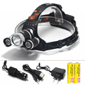 5000LM LED Headlamp  XML T6 4 Modes Rechargeable Headlight Head Lamp Spotlight For Hunting+Charger(US EU)+2 PCS 18650