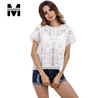 Merderheow New Europe 2017 Summer Women S Lace Hollow Out Blouses Shirts Femme Casual Embroidered Blouses