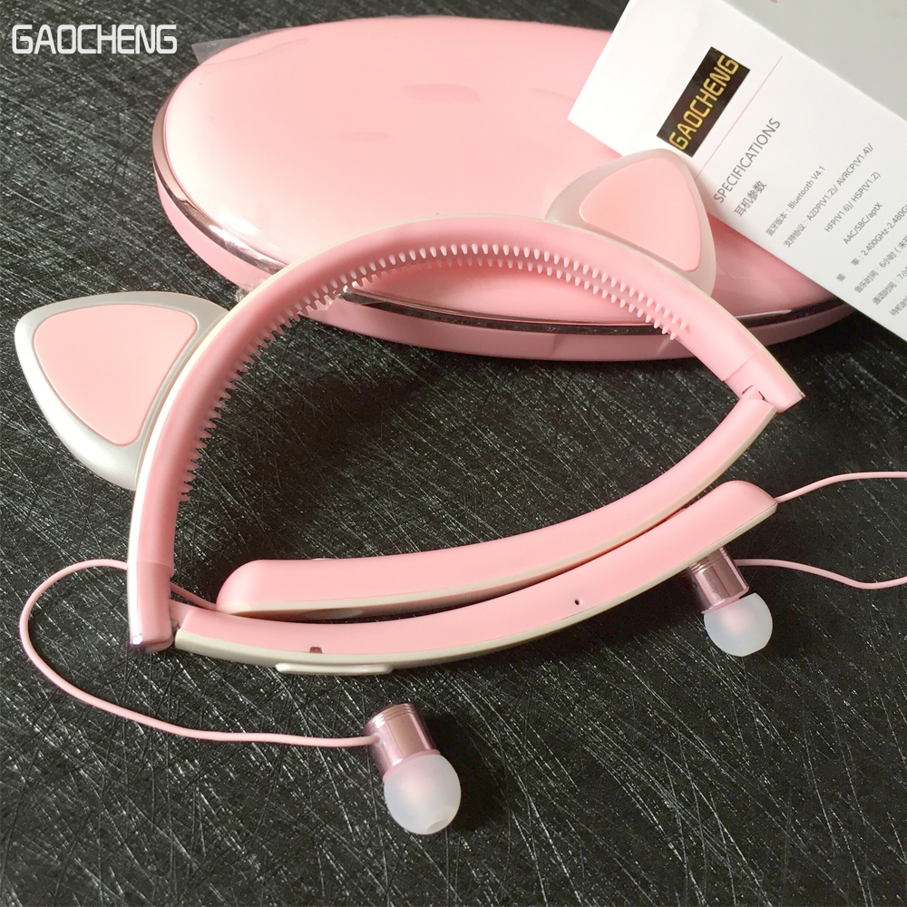 Cartoon Cat Ear Headphone Flashing Glowing Cosplay Cat Ear Headphones Foldable Gaming Headsets Earphone With Mic For Girl Gift foldable flashing glowing cat ear headphones gaming headset earphone with led light for pc laptop computer mobile phones