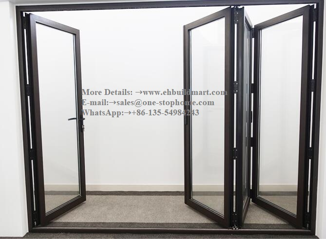 Aluminium Double Glass Sliding Folding Door For Entrance,patio Doors For Villa Use,Exterior Room Dividers Soundproof Glass