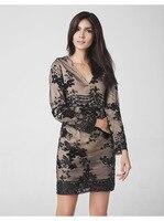 Eranlee Осенне-зимняя обувь новые женские платье 2017 Sexy v-образным вырезом Длинные рукава Мода блестками кружева праздник праздничное платье