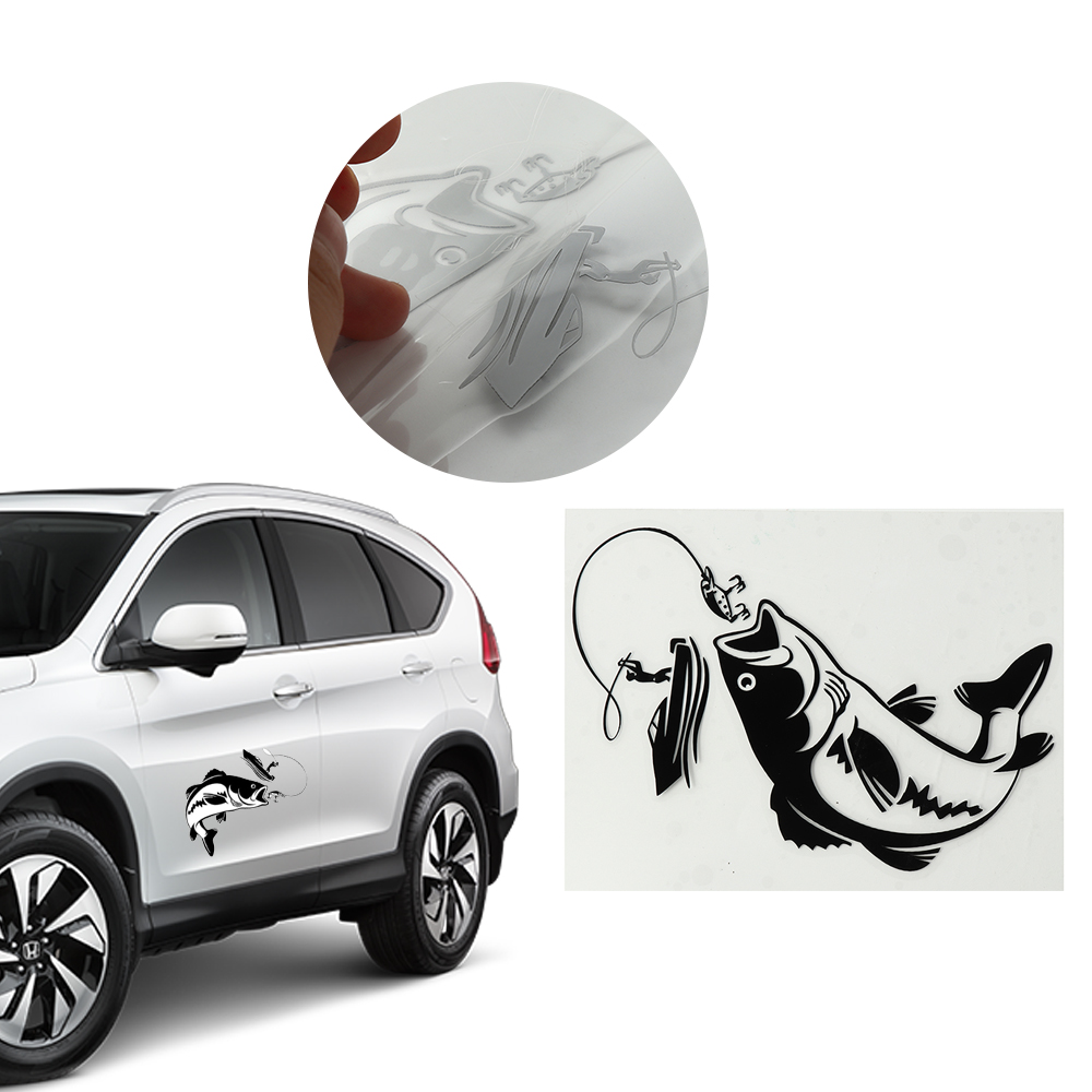 Interesting fishing fisherman hobby fish boat car stickers vinyl boat bumper decal black and white auto window decoration in car stickers from automobiles