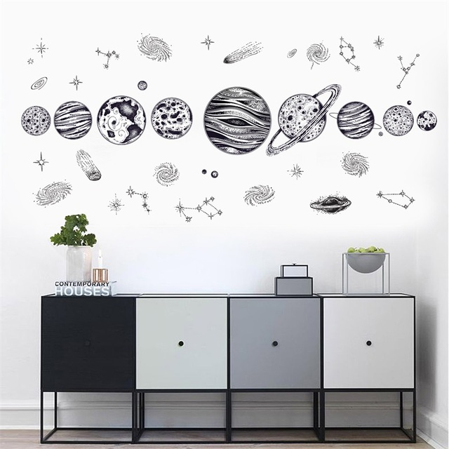 sketch universe space wall decals star planet vinyl wall sticker