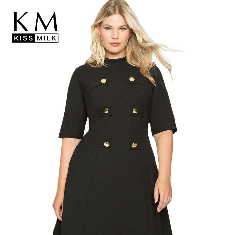 Kissmilk Large Size Metal Double-Breasted Decorative Half-High Collar Five-Point Sleeves Waist A-Line Bohemian Retro Trend Dress