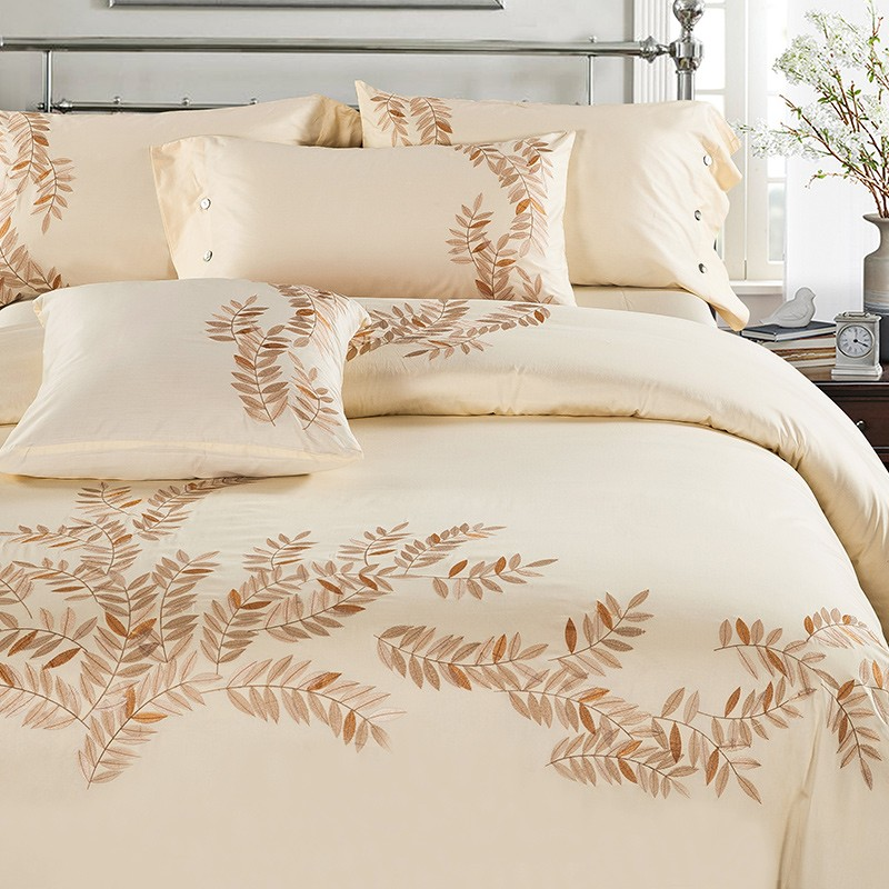 Bedding-Set Coffee Oriental Pillowcases Duvet-Cover Bedsheet Embroidery King-Queen-Size