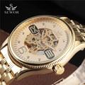 SEWOR New Number Sport Big Dial Design Golden Mens Watches Top Brand Luxury Montre Homme Clock Men Automatic Skeleton Watch