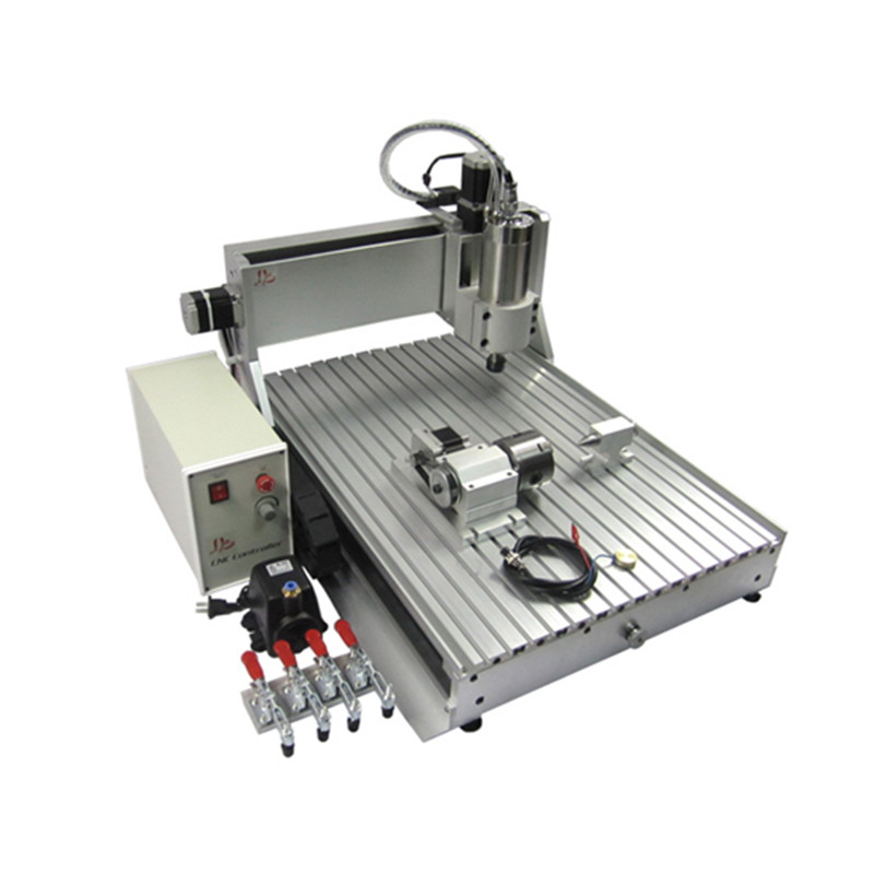 1 5KW Spindle 4 axis CNC router 6040 USB desktop wood lathe cutting machine with free cutter vise collet drilling kits in Wood Routers from Tools
