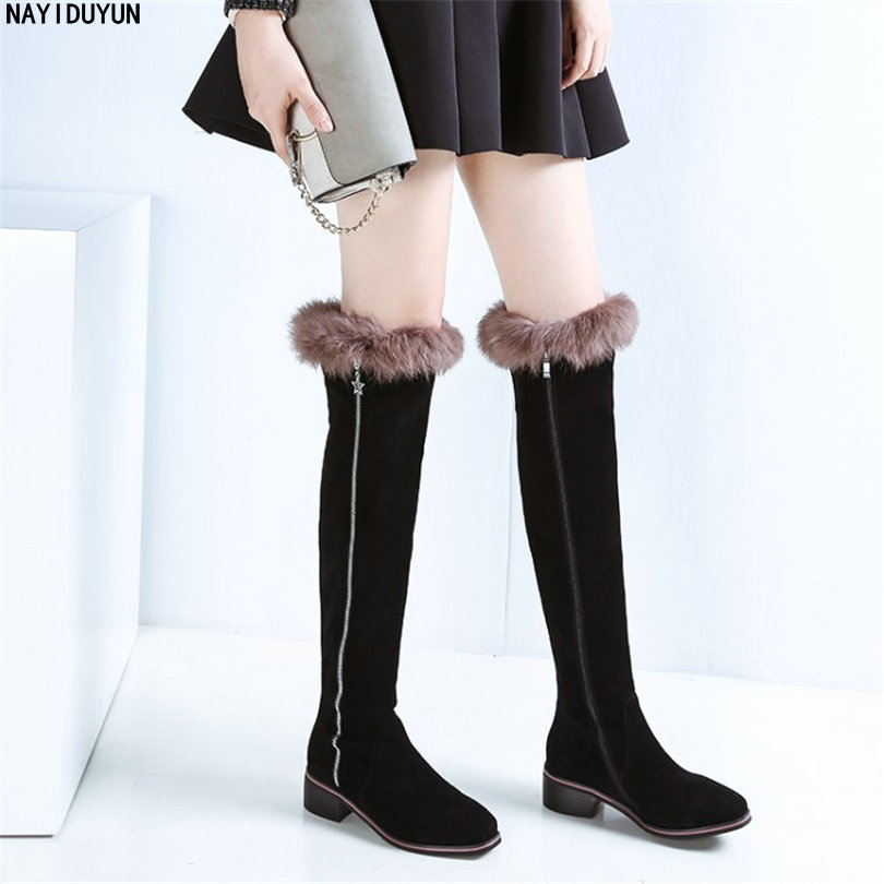 NAYIDUYUN    Rabbit Fur Shoes Women Cow Suede Leather Round Toe Knee High Boots Low Heel Party Oxfords Casual Winter Snow Boots nayiduyun new fashion thigh high boots women genuine leather round toe knee high boots high heel party pumps casual shoes