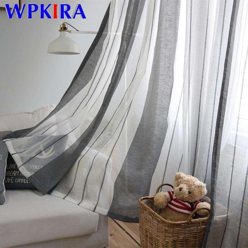 Vorhang streifen tüll vorhang panel kaffee anpassen balkontür vorhang tür dekoration moderne grau vorhang tüll wp155-20
