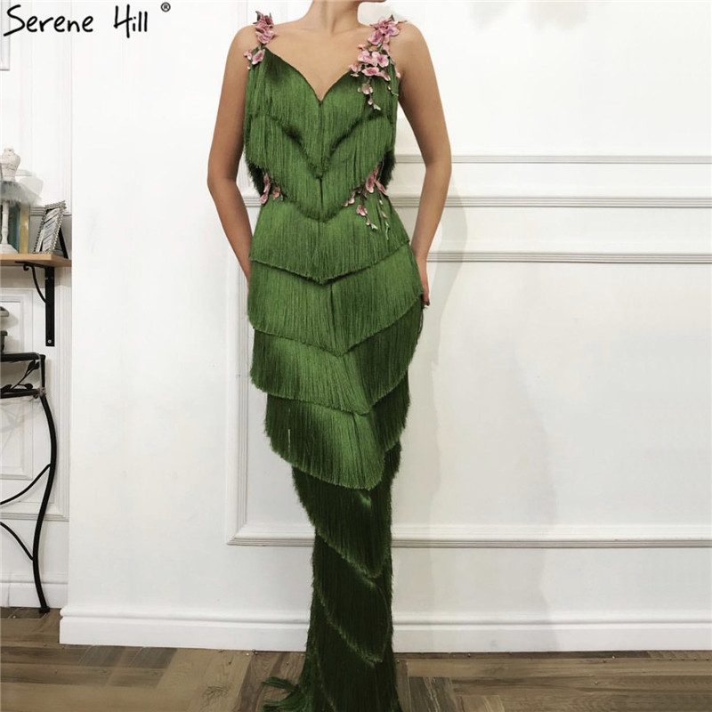 Green Sleeveless Tassel Tiered Sexy Evening Dresses 2019 V-Neck Flowers Mermaid Long Evening Gowns Serene Hill LA70027