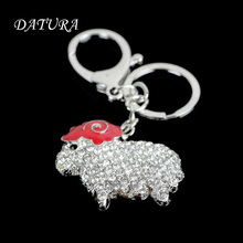 2 colors Fashion rhinestone red sheep keychain pendant quality chic Car key chain ring holder Jewelry