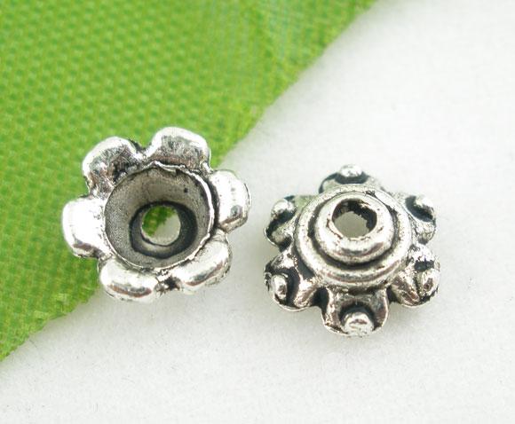 Zinc Metal Alloy Beads Caps Flower Antique Silver Flower Pattern 7mm( 2/8