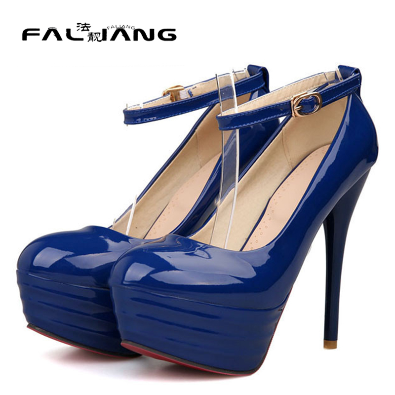 ФОТО 2017 of the latest design fashion sexy ladies platform pumps high heels ankle strap shoes woman large size 34-43
