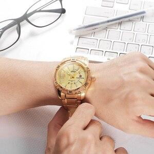 Image 5 - NAVIFORCE Fashion Golden Watch Men Luxury Brand Army Military Quartz Clock Mens Watches Waterproof Week Date Sport Wrist Watches