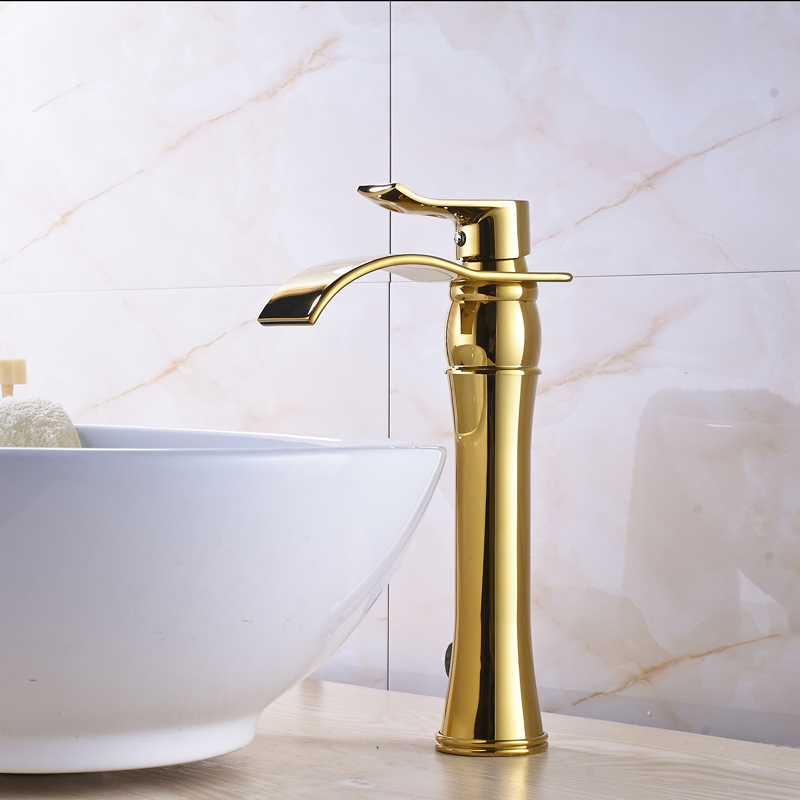 Golden Deck Mounted Bathroom Sink Faucet Single Hole/ Handle Waterfall Countertop Basin Mixer Tap Hot and Cold Water deck mounted golden brass swan basin faucet single handle countertop sink mixer