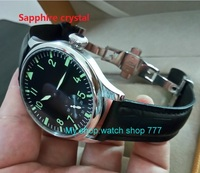 Sapphire crystal green luminous 44mm parnis ST3621 17 jewels Mechanical Hand Wind movement butterfly buckle men's watches 404A