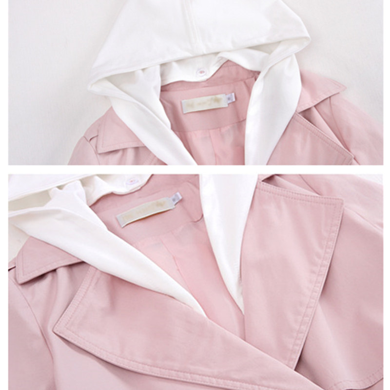 khaki À vent Femmes Dames Capuche Élégant Manteau Coréen Coupe Manteaux Blue pink Femme Printemps Harajuku Veste Casual 2018 Rose Longs qzExBUBdw