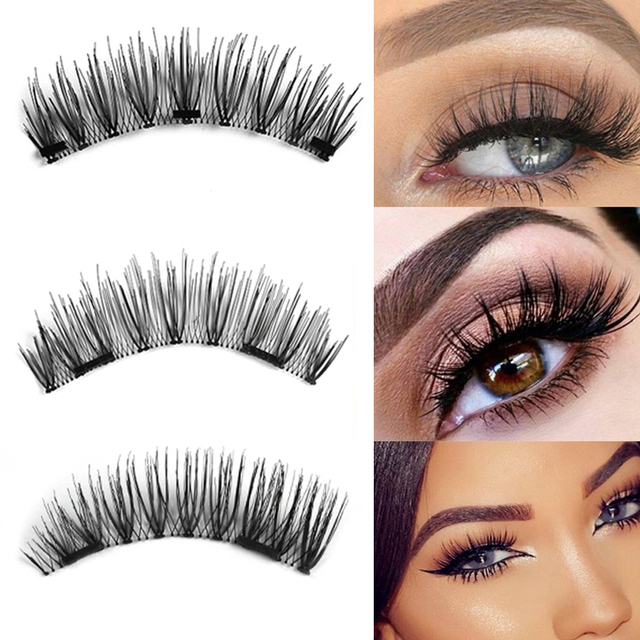 3d Tripledouble Magnetic False Eyelashes Reusable Soft Mink Hair