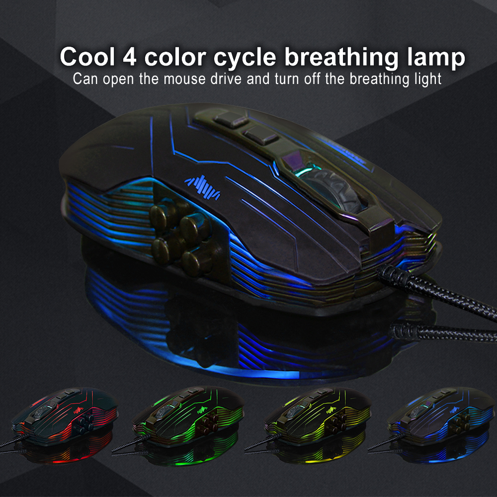 Professional Wired Gaming Mouse 9 Buttons 800-1200-1600-3200DPI LED Optical USB Computer Mice Gamer Mouse for PC Laptop Notebook rh2300 wired 800 1600 2400 3200dpi gaming optical mouse black orange