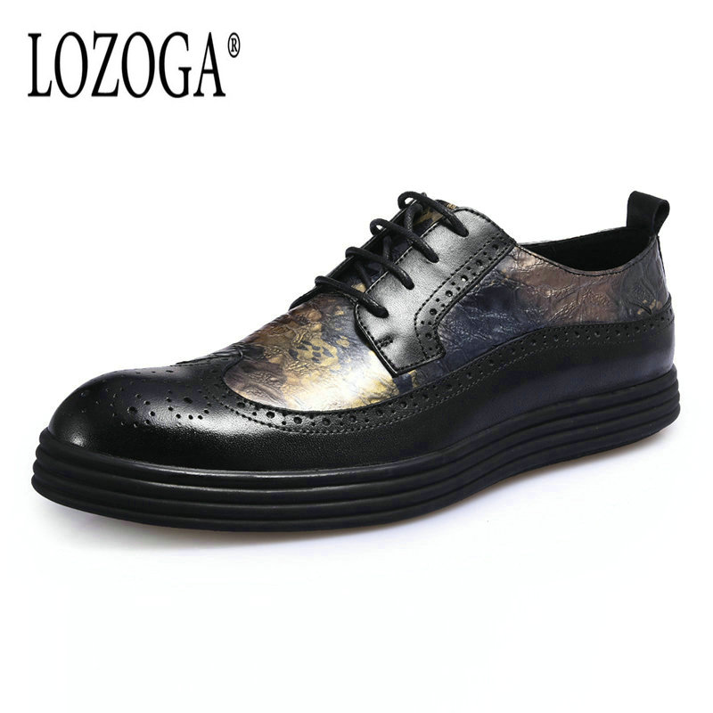 Lozoga New 2018 Luxury Genuine Leather Brogue Mens Flat Shoes Casual British Style Men Oxfords Fashion Brand Dress Shoes For Men brand new fashion italy design luxury flats shoes men s genuine leather shoes for men casual oxfords shoes plus size eur 38 48